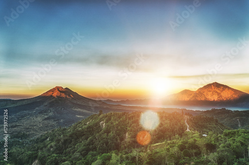 In de dag Bali Active volcano Mount Gunung Batur at sunrise in Bali, Indonesia.