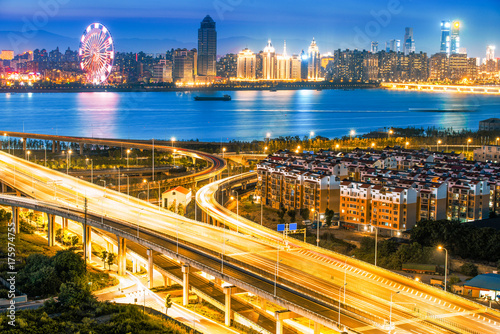 night view of the bridge and city in Nanchang china. Poster