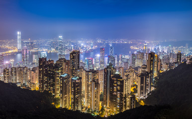 Hongkong at night from Victorias Peak