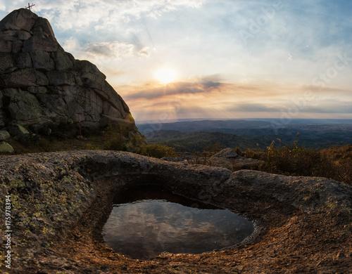Beauty view on Sinyukha mountain, the highest mountain of Kolyvan ridge, in the Altai Territory of Russia