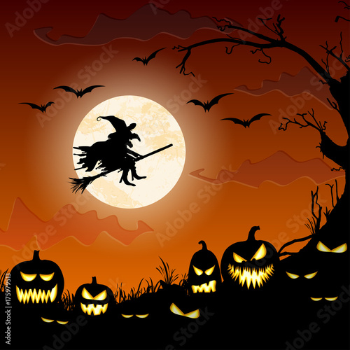 Deurstickers Wanddecoratie met eigen foto Halloween witch in front of full moon