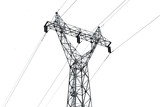 High voltage pole isolated on white background - 175980966