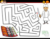 cartoon maze activity with chef and sushi - 175981980