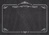 Vector retro menu blackboard background with border - 175983143