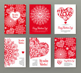 Set of 6 cards or banners for Valentine's Day with ornate red lo