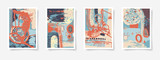 set of four pieces blank A4 sheet contemporary abstract painting - 175996121