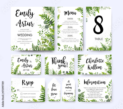 Wedding invite, invitation menu rsvp thank you card vector floral greenery design: Forest fern frond, Eucalyptus branch green leaves foliage herbs greenery berry frame border. Watercolor template set