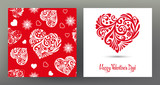 Set of seamless patterns and greeting cards for Valentine's Day