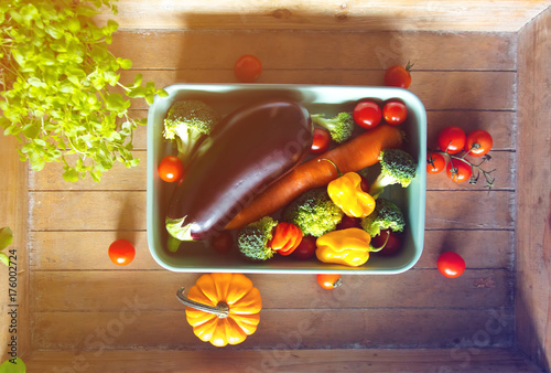 Fotobehang Natuur vegetables for a dinner on wooden table