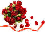 red roses present for holiday and symbol of love
