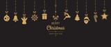Fototapety christmas golden ornament elements hanging black background
