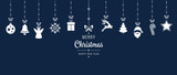 christmas ornament elements hanging blue background - 176003716