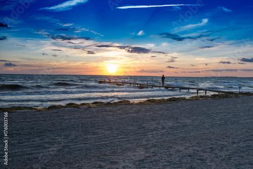 Foto op Canvas Zee zonsondergang Sonnenuntergang an der Ostsee