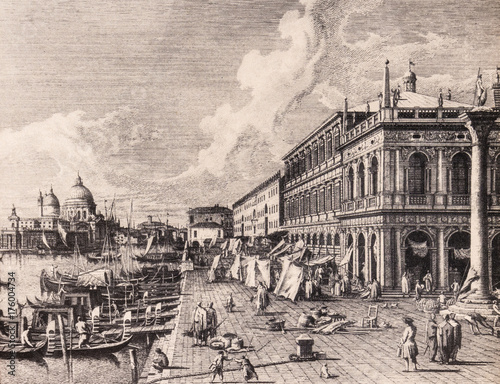 Spoed canvasdoek 2cm dik Venetie Venice, Italy: Panorama with the Riva degli Schiavoni. 18th century print.