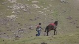 Man running with horse on the highlands of Peru. Slow motion - 176005347