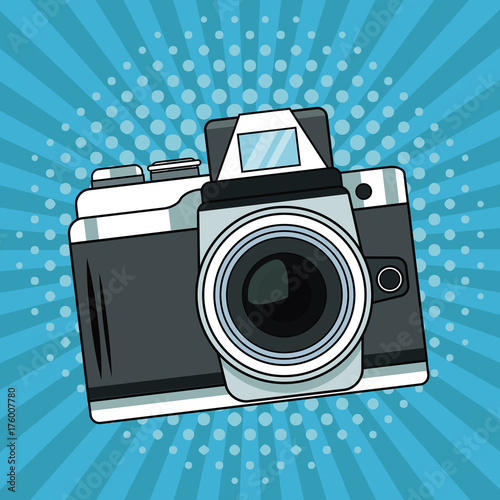 Fotobehang Vintage Poster Vintage camera pop art cartoon vector illustration graphic
