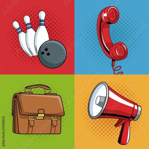 Staande foto Bol Set of pop art cartoon vector illustration graphic