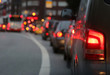 Leinwanddruck Bild - Autos im Stau in der Großstadt