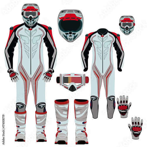 Motorcycle suit vector flat icon set