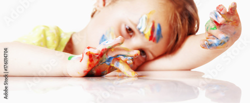 Baby kid painted. Beautiful little child girl and art colour hands. ( people, childhood, drawing concept)