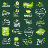 Set of icons and elements for organic food and drink, restaurant, food store, natural products, farm fresh food,  e-commerce, healthy product promotion. - 176019997
