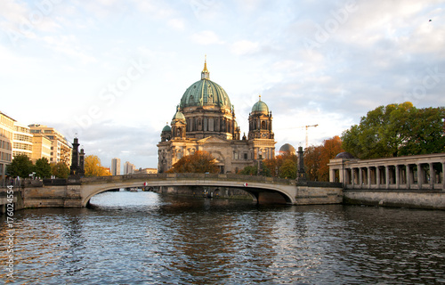 Berliner Dom (Berlin cathedral) over Spree river at sunset Poster