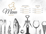 Restaurant menu design. Vector menu brochure template for cafe, coffee house, restaurant, bar. Food and drinks logotype symbol design. With a sketch pictures - 176025909
