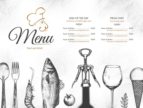 Wall mural Restaurant menu design. Vector menu brochure template for cafe, coffee house, restaurant, bar. Food and drinks logotype symbol design. With a sketch pictures