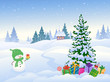 Snowman and Christmas landscape - 176026775