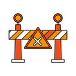 roadblock road sign icon image vector illustration design