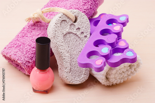Poster Pedicure Pedicure accessories set tools closeup