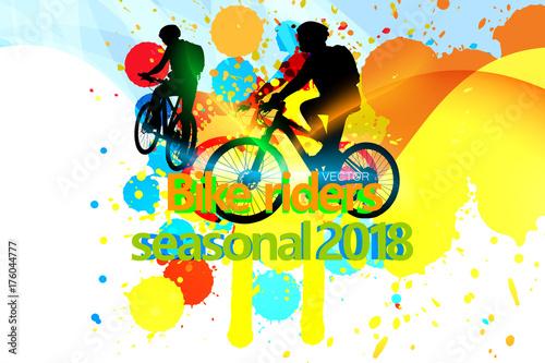 Bike riders seasonal 2018 vector design abstract background