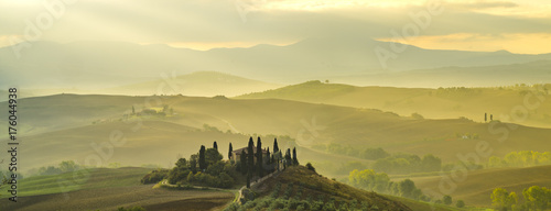 Fotobehang Toscane Pienza, Italy-September 2015: autumn panorama of the most beautiful area in Tuscany, Val d'Orcia Valley