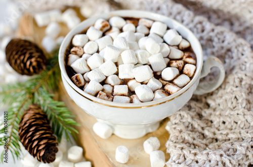 Fotobehang Chocolade Hot chocolate with marshmallow on the table with Christmas decorations