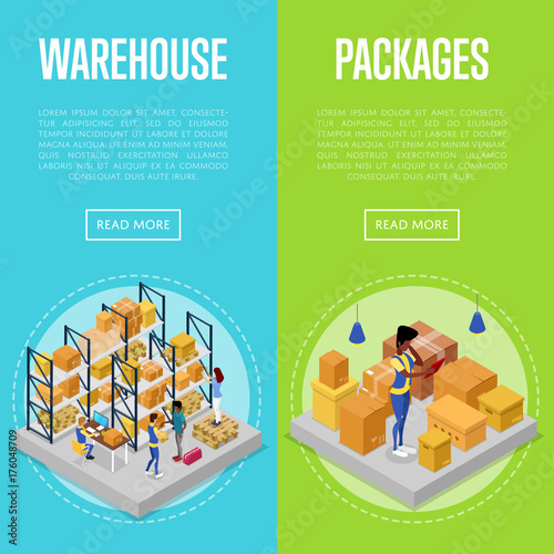 Delivery packing and warehouse management isometric posters. Shipping and distribution, fast delivery transportation, warehouse logistics. Commercial cargo transportation vector illustration