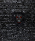 mask of a monkey on a dark background - 176051537