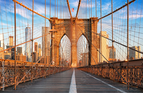 Foto op Plexiglas Brooklyn Bridge Brooklyn Bridge, New York City, nobody
