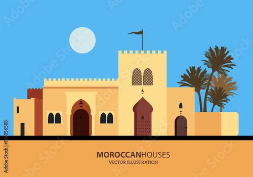 Mediterranean Moroccan or Arabic style houses set. Vector Illustration