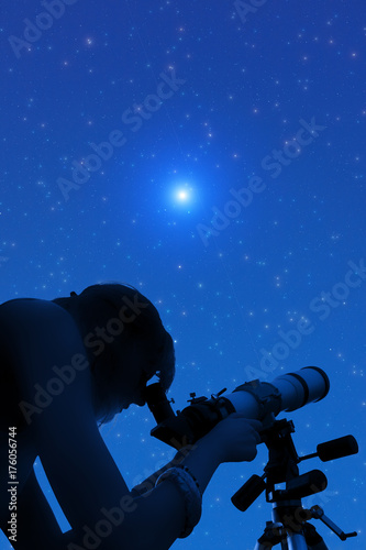 Silhouette of a girl while watching stars through the telescope. Poster