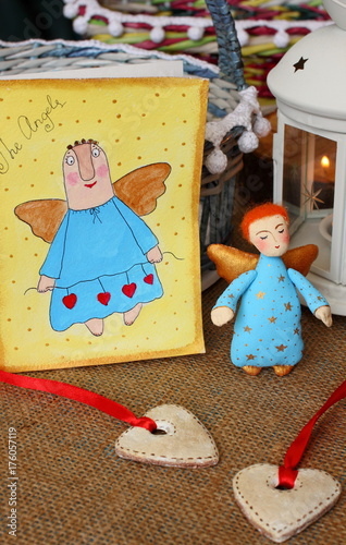 Beautiful little angel and hearts and greeting card with angel Poster