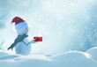 Leinwanddruck Bild - Merry christmas and happy new year greeting card . Happy snowman  standing in winter christmas landscape.