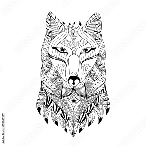Hand Drawn Zentangle Wolf Head For Adult And Children Coloring Book Pagevector Illustration