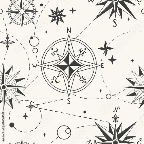 Seamless pattern with vintage wind rose. Nautical background. Retro hand drawn vector illustration