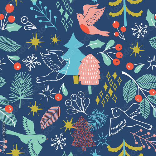 Cotton fabric Christmas seamless pattern with tree, birds, barrys. Vector holiday illustration