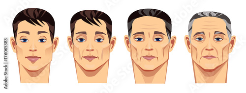 face of man at different ages, vector illustration, human face in different periods of life, young man, middle-aged man, elderly man