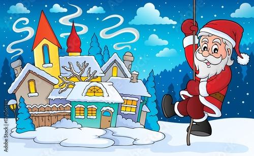 Deurstickers Voor kinderen Climbing Santa Claus theme image 6