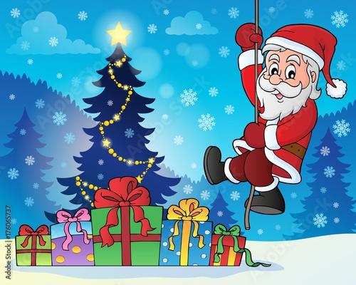 Deurstickers Voor kinderen Climbing Santa Claus theme image 7