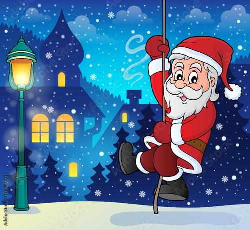 Deurstickers Voor kinderen Climbing Santa Claus theme image 8