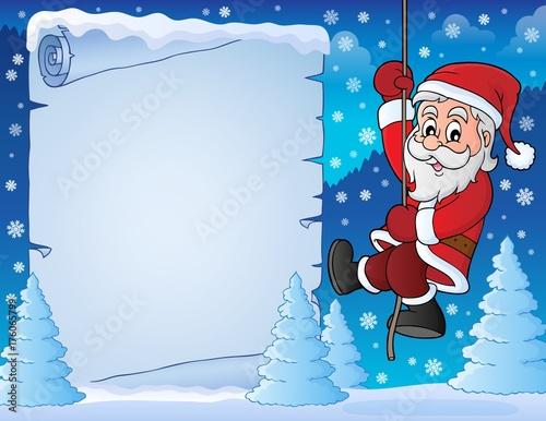 Deurstickers Voor kinderen Climbing Santa Claus theme parchment 3