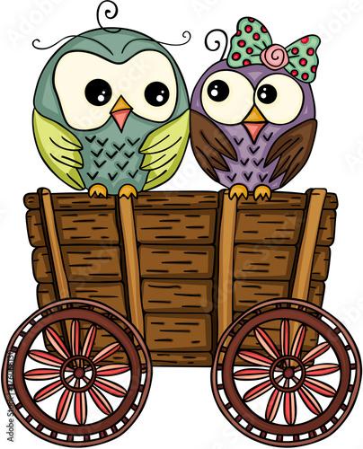 Fotobehang Uilen cartoon Cute couple owls on wooden trolley